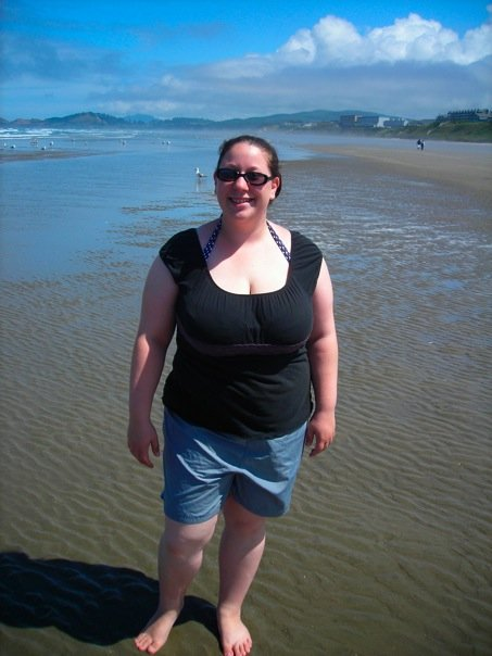 This is me at my heaviest on the beach.