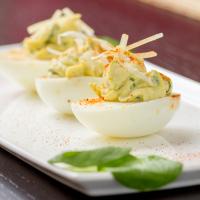 Spinach Artichoke Deviled Eggs