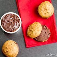 Gingerbread Whoopie Pies with Eggnog Dark Chocolate Ganache Filling {Vegan}