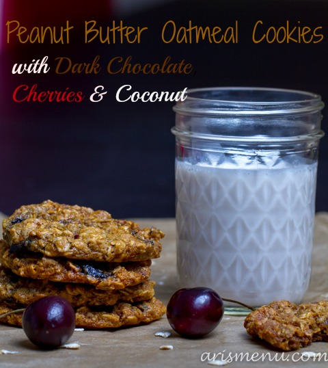 Peanut Butter Oatmeal Cookies with Dark Chocolate, Cherries & Coconut #vegan #glutenfree