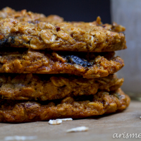 Peanut Butter Oatmeal Cookies with Dark Chocolate, Cherries & Coconut