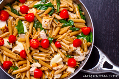 Caprese Pasta: A simple, healthy and delicious weeknight dinner that will impress the whole family. With only a handful of ingredients, this comes together in a flash with so much flavor and the perfect amount of melty mozzarella.