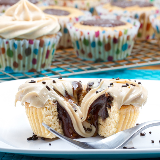 Vanilla Bean Cookie Butter Cup Cupcakes with Vanilla Bean Cookie Butter Cream Cheese Frosting