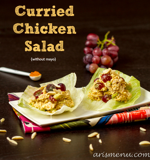 Curried Chicken Salad {without mayo} #glutenfree via arismenu.com