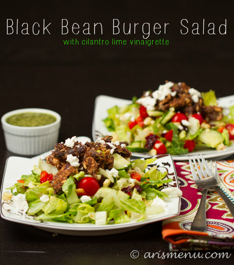 Black Bean Burger Salad with Cilantro Lime Vinaigrette #glutenfree