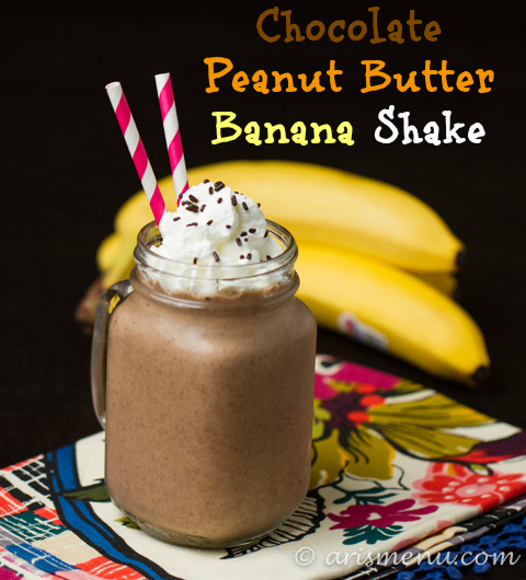 Chocolate Peanut Butter Banana Shake #vegan #glutenfree