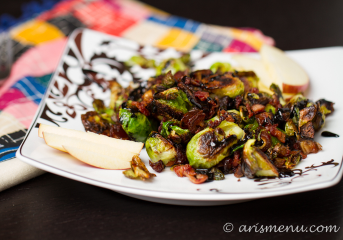Brussels Sprouts with Bacon, Dates & Apples