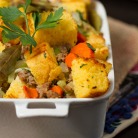 Cornbread Sausage Stuffing: My family fights over the the leftovers from this stuffing every Thanksgiving! Big chunks of cornbread, sweet Italian turkey sausage, plenty of veggies and herbs and the secret ingredient -- TRUFFLE OIL -- make this a true, unforgettable classic!