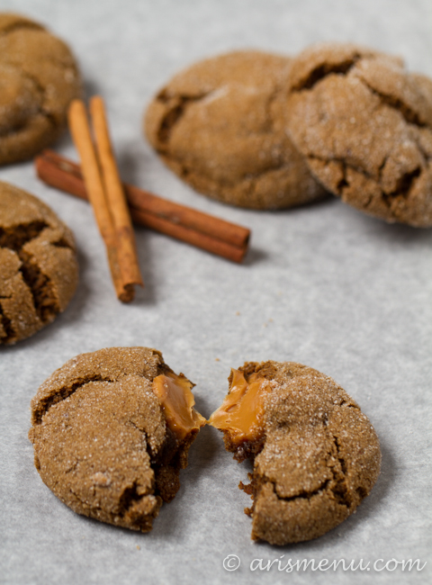 Caramel Stuffed Ginger Molasses Cookies