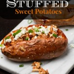 BBQ Chicken Stuffed Sweet Potatoes: An easy, hands-off and healthy weeknight dinner that makes you feel like you're at a fancy restaurant
