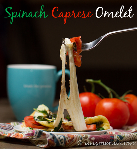 Spinach Caprese Omelet: A quick, easy, veggie & protein packed breakfast, lunch or dinner