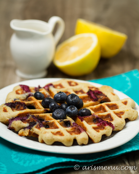 Blueberry Lemon Buttermilk Waffles: Healthy & gluten-free