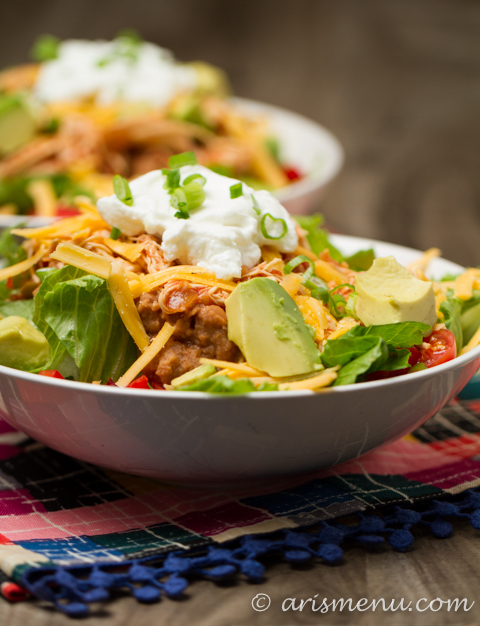 Shredded Chicken Taco Salad: Easy, simple, healthy & gluten-free!