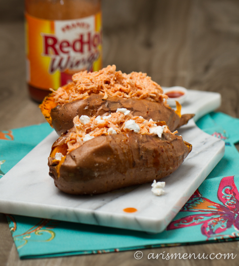 Buffalo Chicken Stuffed Sweet Potatoes: Bold, healthy & insanely easy!