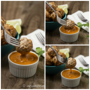 Thai Turkey Meatballs with Peanut Dipping Sauce