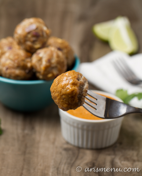 Thai Turkey Meatballs with Peanut Dipping Sauce: Healthy, delicious & gluten-free