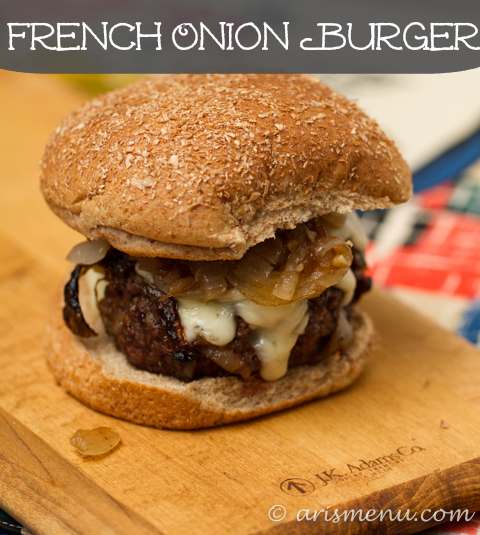 French Onion Burgers with tons of caramelized onions and melty gruyere