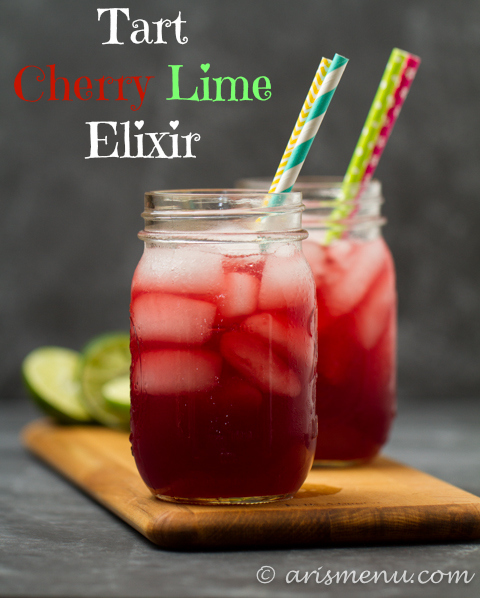 Tart Cherry Lime Elixir: A sweet and sour spiked cherry limeade with recovery boosting benefits!