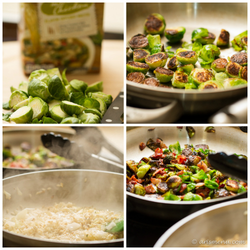 Bacon Brussels Sprouts Risotto: Easy, fail-proof, flavor rich risotto with smokey bacon and plenty of delicious brussels sprouts. This dish appears fancy, but is actual super easy, making it perfect for entertaining!