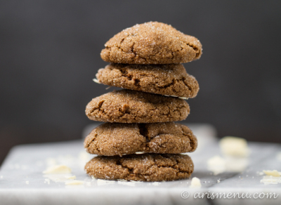 White Chocolate Stuffed Ginger Molasses Cookies: Soft and chewy ginger cookies filled with creamy, melty white chocolate!