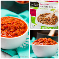 Healthy, vegan, protein-packed & gluten-free Spicy Meatless Sauce