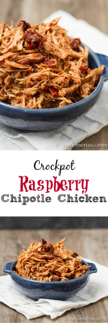Crockpot Raspberry Chipotle Chicken: Perfectly tender and juicy shredded chicken with a sweet and spicy kick!