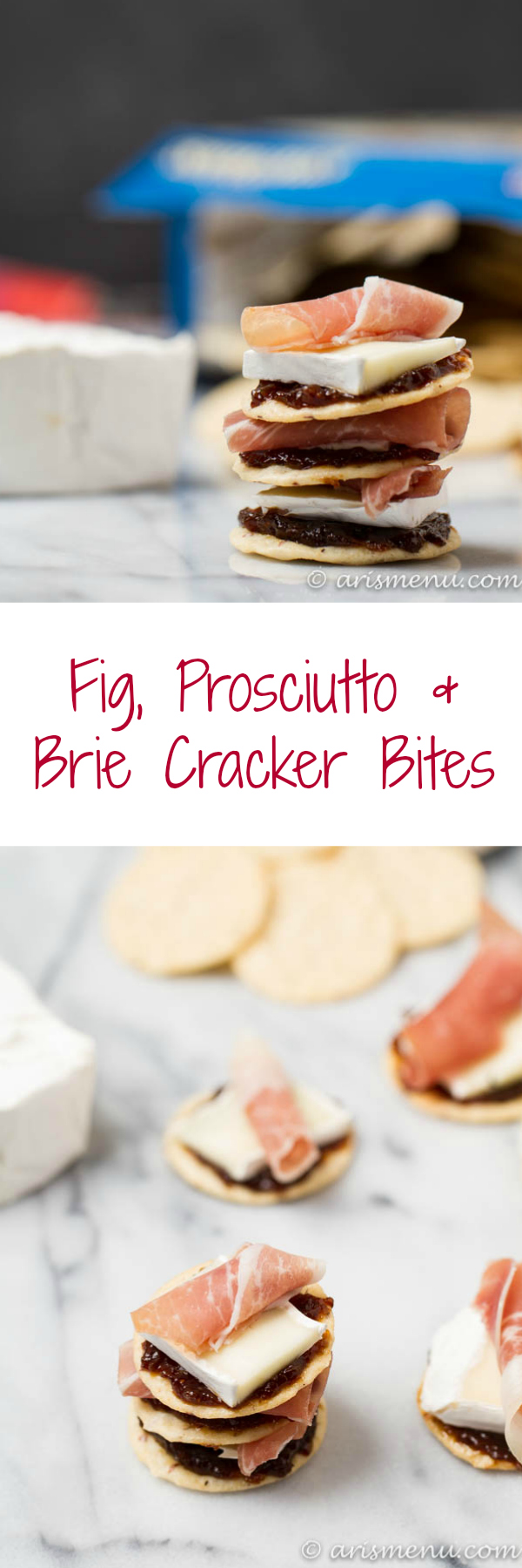 Fig, Prosciutto & Brie Cracker Bites: The perfect easy and delicious appetizer or snack!
