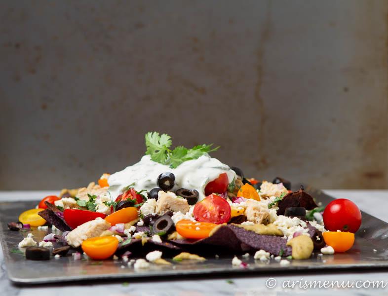 Mediterranean Nachos: Taking comfort food to the next level with this Mediterranean inspired twist!