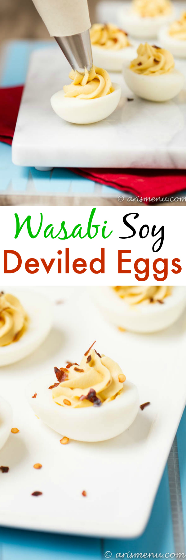 Wasabi Soy Deviled Eggs: Spicy and bold, like a california roll meets deviled eggs!