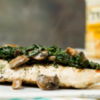 Grilled Chicken with Creamy Parmesan Spinach & Mushrooms